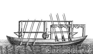 An oar driven steam boat -