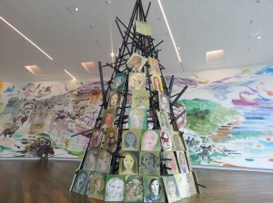 Sophie von Hellermann: The Witches Tit - a 7.5meter high 'pyre' of portraits inspired by the witch trails in Essex